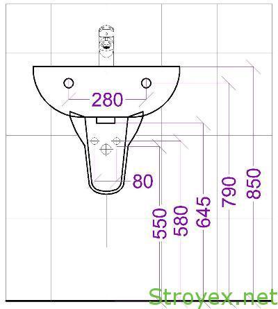 Размеры выводов воды